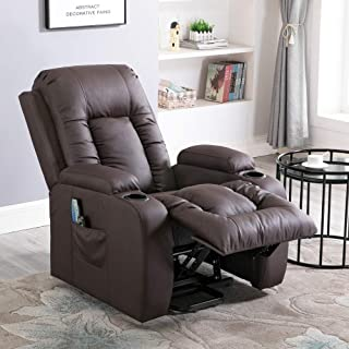Massage Recliner Chair, 4HOMART Electric Power Lift Chair with Massage, Heat and Vibration 160 Degree Recline PU Leather 8 Point Massage Sofa Recliner Heated Chair with Cup Holders