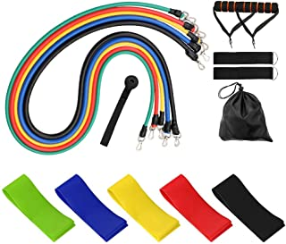 Lixada 11 Pcs/Set Fitness Puller Multi-functional Muscle Strength Yoga Training Rope Resistance Belt+5pcs Resistance Bands...