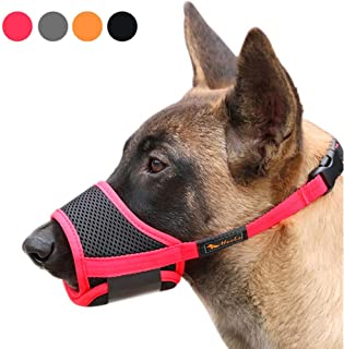 Heele Dog Muzzle Nylon Soft Muzzle Anti-Biting Barking Secure,Mesh Breathable Pets Mouth Cover for Small Medium Large Dogs 4 Colors 4 Sizes