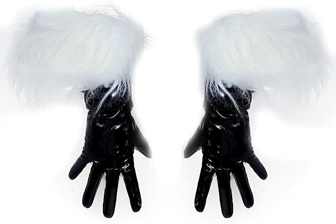 Latex Long Gloves Unisex Black Faux Leather 50cm Fur Lining Extra Warm Winter