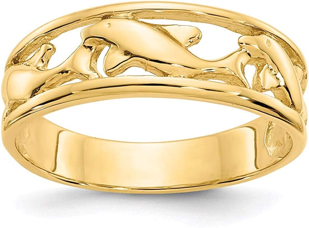 14k Yellow Gold Triple Dolphin Wedding Ring Band Size 6.50 Animal Sea Shell Life Fine Jewelry For Women Gifts For Her