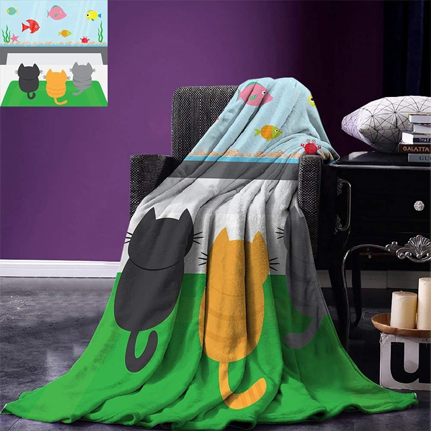 Dodom Cat Throw Blanket Cats Sitting on a Carpet and Looking at Cheerful Fish Tank Cat Family of Three Content Warm Microfiber125cm200cm