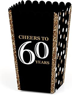 Adult 60th Birthday - Gold - Birthday Party Favor Popcorn Treat Boxes - Set of 12