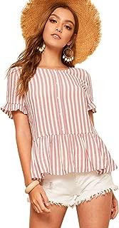 ROMWE Women's Cute Striped Peplum Top Ruffle Hem Blouse