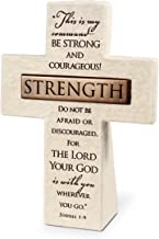 Lighthouse Christian Products Strength in The Lord Sandstone 5.5 Inch Cast Stone Bronze Title Bar Cross Figurine