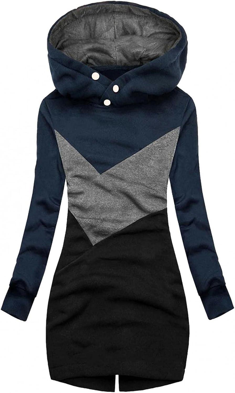 Women Zip up Hoodie Long Hoodies Color Block Sweatshirt Fleece Tunic Jacket with Pockets Cowl Neck Hooded Outwear
