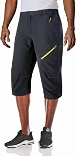 MAGCOMSEN Men's Outdoor Capri Pants Quick Dry Hiking 3/4 Below Knee Shorts with Zipper Pockets