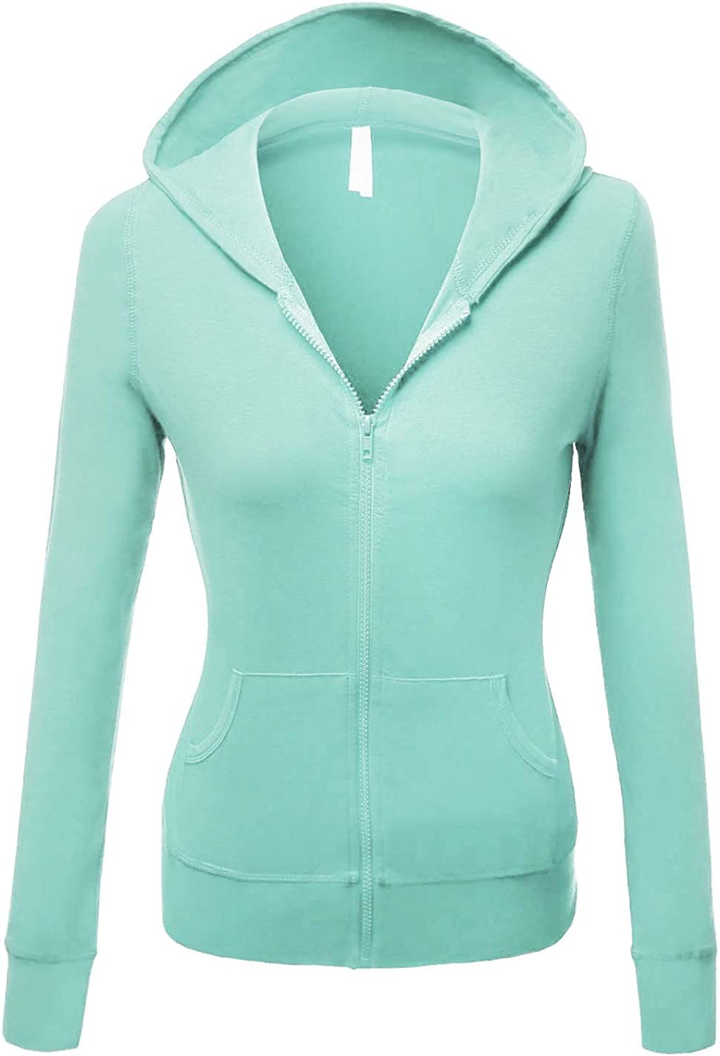 Makeitmint Women's Basic Light Weight Zip Up Hoodie Jacket [S3XL]