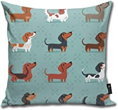 Sausage Dog Dachshund Throw Pillows Covers Accent Home Sofa Cushion Cover Pillowcase Gift Decorative 18X18 Inch (45X45Cm)