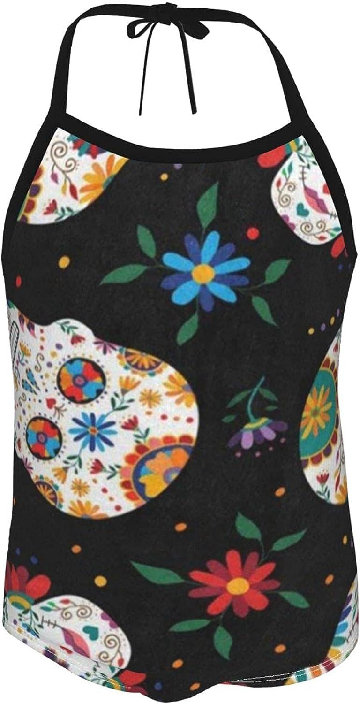 Girls One Pieces Swimsuit Dia De Los Muertos Daisy Flower Sugar Skull Black Beach Sport One Piece Swimsuit B