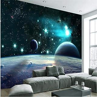 Wuyyii 大型カスタム壁紙3D広大な宇宙スター惑星リビングルームテレビツーリング背景壁-150X120Cm