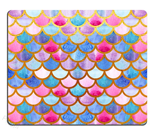 Pingpi Mermaid Scales Mouse Pad Custom for Girls,Watercolor Fish Scales Personalized Design Non-Slip Rubber Mousepad