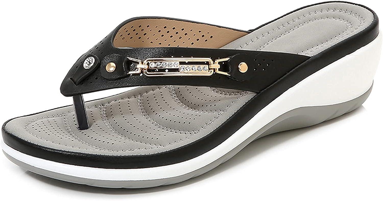 Kexle Sandal Women's Comfortable Crystal Wedge Slippers Non Slip Flip Flop Sandal for Women Outdoor Indoor Beach Travel