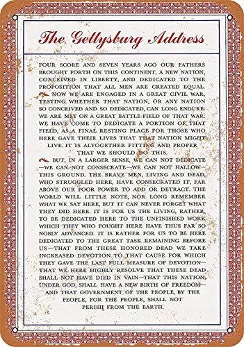 mefoll 20,3 x 30,5 cm Metallschild Lincoln's Gettysburg Adresse Retro Tin Art Decor Bar Home Decor Wandschilder