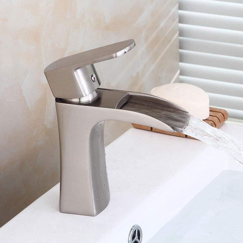 Wasserhhne Waschtischarmaturen Gebürstetes Hahnhahnwasserfall-Hahnbadezimmer Hei Und Kalt Unter Einzelnem Lochhahn Des Gegenbassinhahns