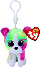 Claire's Girls TY Beanie Boo Isla The Rainbow Bulldog Keyring Clip in Pink/Green/White