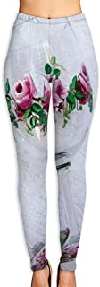 Lady Yoga Pants Leggings Roses Wine Glasses Running Workout Fitness Long Trousers Training Gym