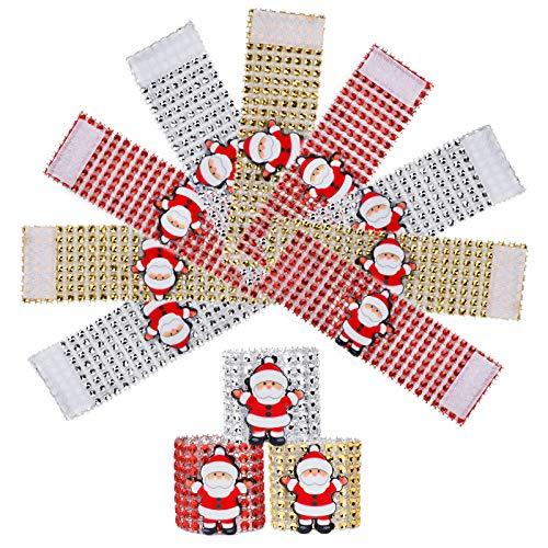 MengH-SHOP Serviettenringe Weihnachts Serviette Schnalle Halter Weihnachtsmann Serviettenring Schnallen für Weihnachts Partei Tabellen Dekoration 12 Stück (3 Farben)