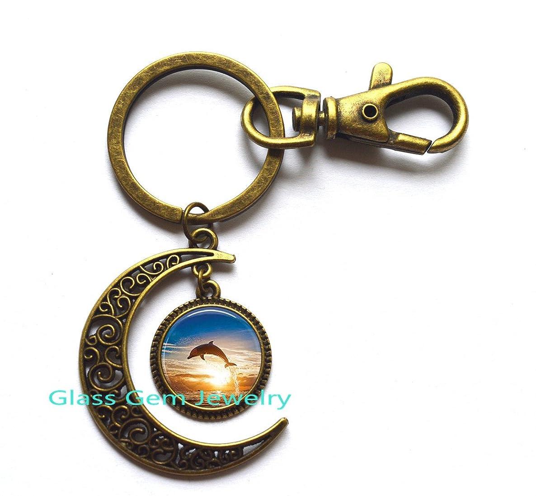 Dolphin Jewelry, Dolphin Photo Moon Key Ring Choker Moon Keychain Men Women, Ocean Jewelry, Fish Jewelry,Q0275 (Y2)