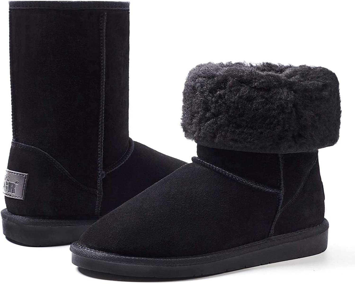 ZGR Women's Classic Suede Leather Upper, Faux Fur Linning Short Mid Calf Winter Boot