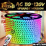RGB LED Strip Light, IEKOV AC 110-120V Flexible/Waterproof/Multi Colors/Multi-Modes Function/Dimmable SMD5050 LED Rope Light with Remote for Home/Office/Building Decoration (98.4ft/30m)