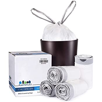 """Plasticplace 8 Gallon Trash Bags │ 0.7 Mil │ White Drawstring Garbage Can Liners │ 22"""" x 22"""" (200 Case), Count"""