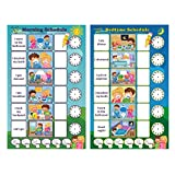 Magnetic Chore Chart for Kids - Dry Erase Board, Responsibility Chore Chart, a Board for Morning Schedule and a Board for Bedtime Schedule, Smart Planner, Included 4 Markers by Healthy plan