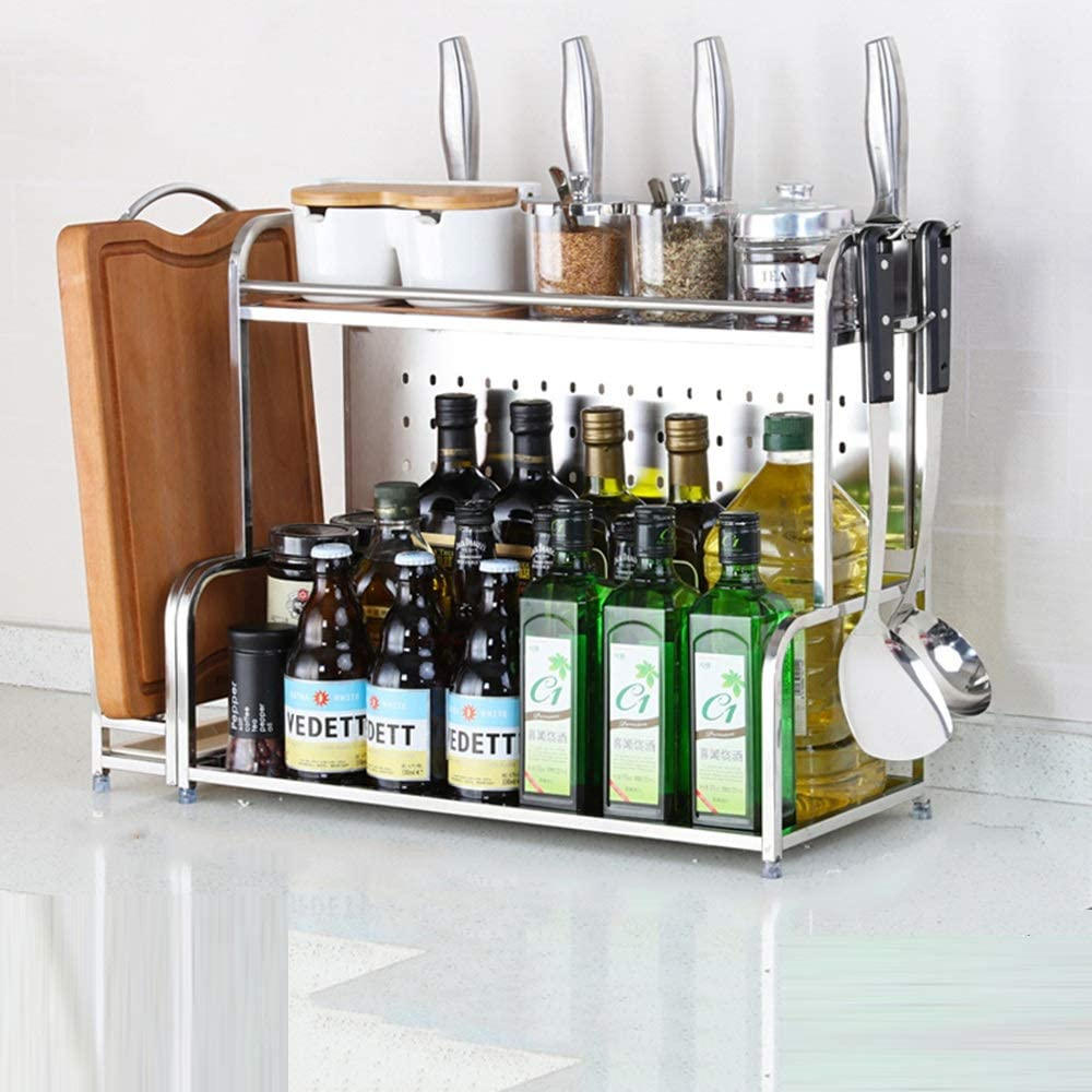 HUO Stainless Steel Kitchen Rack Layer Los Angeles Mall St 2 Limited time trial price Multi-Function Floor