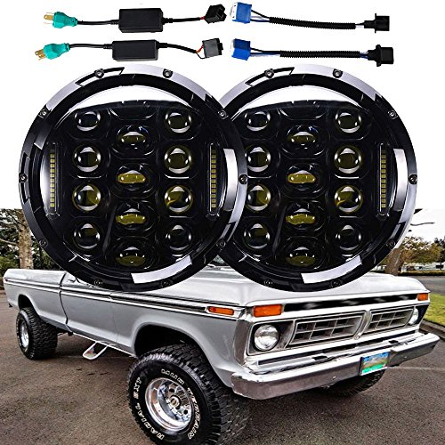 H6024 7 Inch Round LED Headlights for Ford F150 F-150 (1975 to 1979), Super Bright 6000K White DRL Lights High Low Sealed Beam Conversion Kit (Package of 2) -  Autofu, F150 H6015 H6016 H6017 H6024 H6026