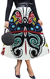 ThusFar Women's Graffiti Pleated Skirts Cartoon Printed Elastic Waist A-Line Swing Midi Skirt