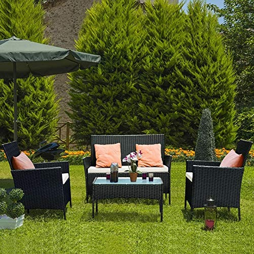 bigzzia Rattan Garden Furniture Set, 4 piece Patio Rattan furniture sofa Weaving Wicker includes 2 Armchairs,1 Double seat Sofa and 1 table