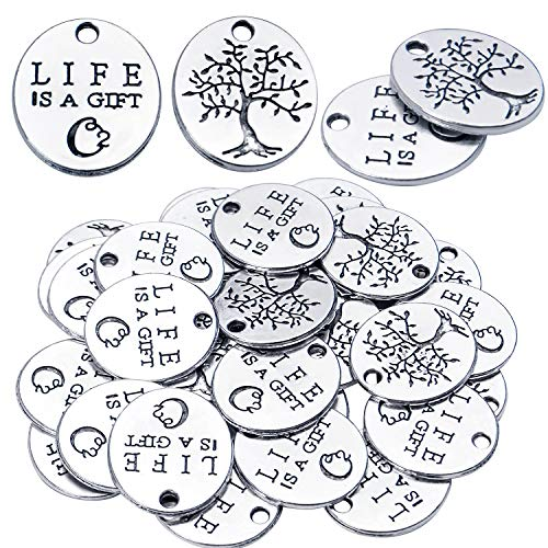 Inspirational Words Charms, 30pcs Lettering Saying Pendants (LIFE IS A GIFT) Tree of Life Charms Beads Jewelry Findings for DIY Necklace Bracelet - Double-Sided Design