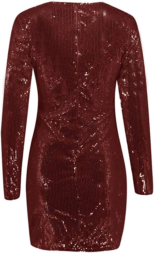 Anewoneson Womens Sexy Deep V Neck Short and Long Sleeve Sparkly Sequin Slim Beautiful Party Dress Solid Mini Dress