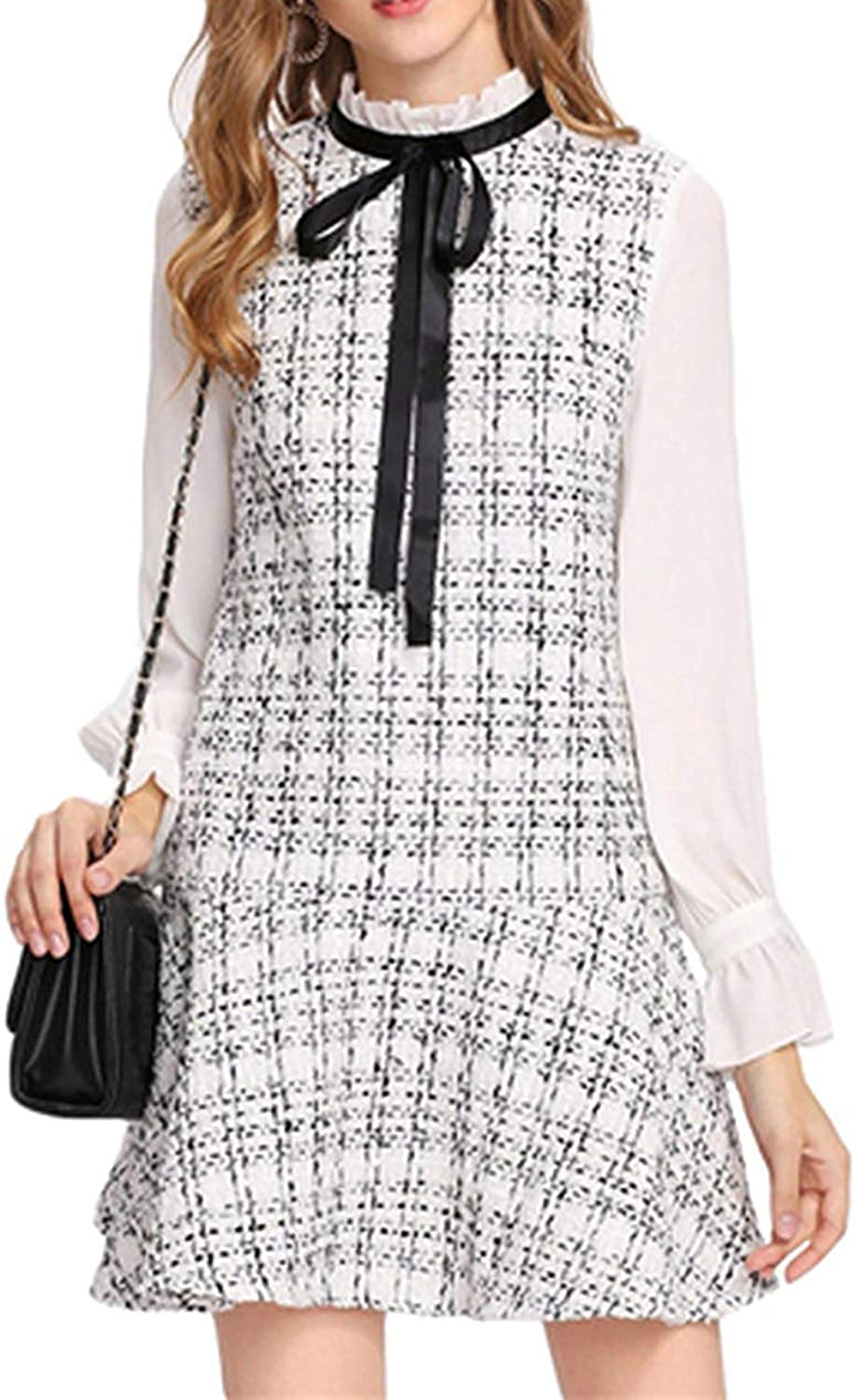 Henraly Black and White Women DressFrilled Neck Drop Waist Tweed Dress Autumn Long Sleeve Tie Neck A Line