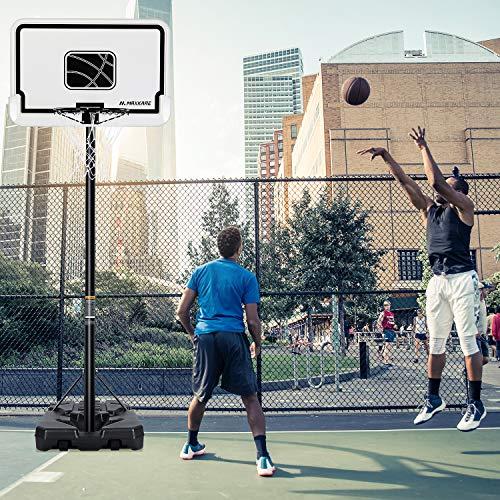 MaxKare Basketballständer Höhenverstellbar Basketballanlage Basketballkorb mit befüllbare Ständer mit Wasser Sand für Kinder Erwachsene Einstellbar 2m-3m Tragbar mit 1,12m Rückwand und Räder (Weiß)