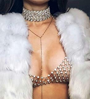 Denifery Tassel Rhinestone Multi-layer Body Chain Sexy Jewelry Mesh Chest Chain Body Accessories