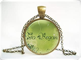 Fashion cool jewelry Go Vegan Vegetarian Pendant ,Go Vegan Necklace ,Dome Glass Ornaments, Pure Hand-Made