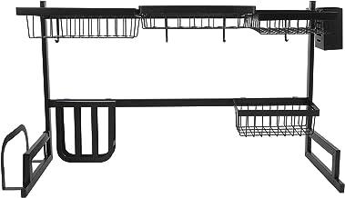 Over-de-gootsteen Afdruiprek Roestvrijstalen Afdruiprek Keuken Multifunctionele Spoelbak Bestek Opslag Plank Snijplank
