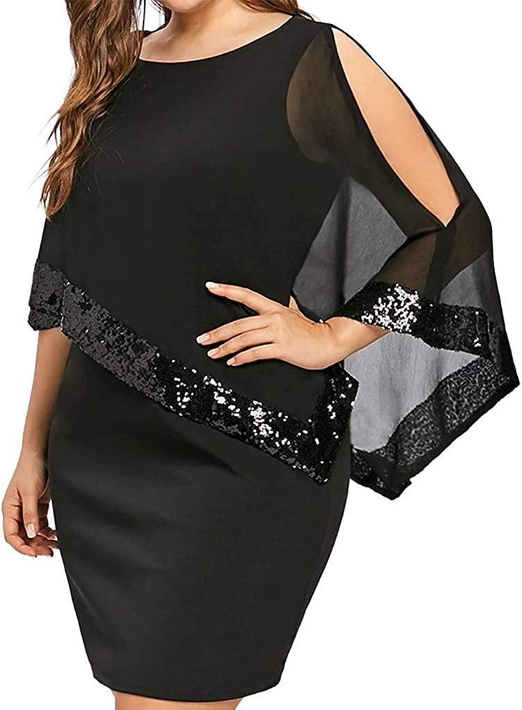 Fankle Sequined Overlay Party Dress Chiffon Poncho Slit Sleeve Pencil Cocktail Overlay Mini Dress