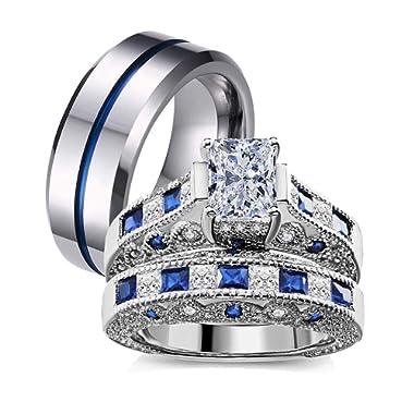 SAINTHERO Women Girls 2 pcs Stainless Steel Wedding Sets Anniversary Band Engagement Yellow Floral Statement Ring