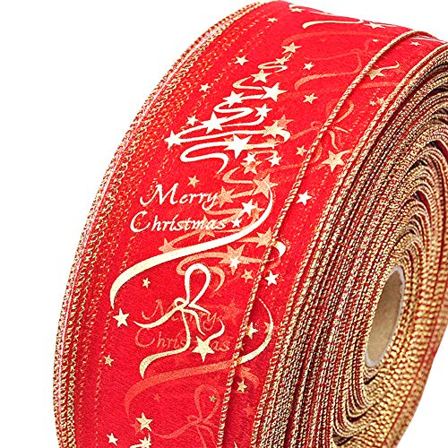 Glitter Christmas Tree Wired Sheer Ribbon, Organza Sheer Red and Gold Wired Ribbon for Christmas Gift Wrap Decoration, 2.5 Inches Wide 11 Yards Long