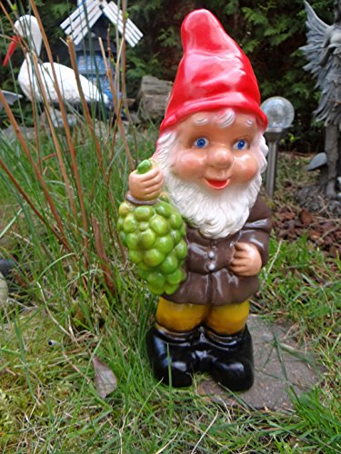 Gartenzwerg mit Trauben 36 cm aus bruchfestem PVC Zwerg – Made in Germany Figur - 2