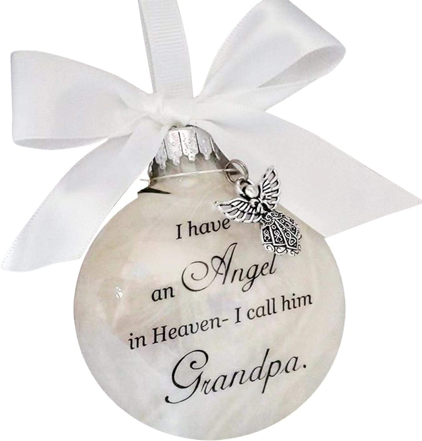 He Forever in Our Heart Angels in Heaven Memorial Ornament for Loss of Dad Christmas Ornament Feather Ball I Have an Angel in Heaven I Call Him Dad