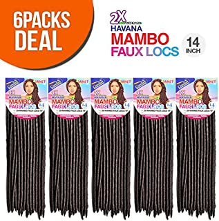 "Best Janet Collection Synthetic Hair Crochet Braids 2X Havana Mambo Faux Locs 14"" (6-PACK, 1B) Reviews"