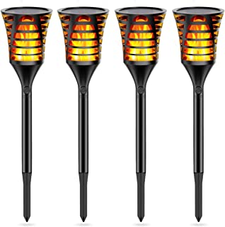 InnoGear Solar Torch Lights Outdoor, 96 LED Solar Lights Flickering Flames Waterproof Landscape Dusk to Dawn Auto On/Off for Yard Garden Driveway Pathway Pool, Pack of 4