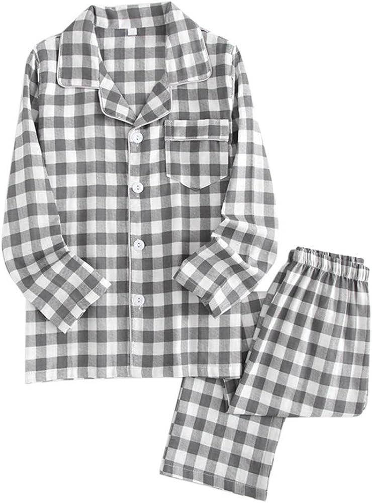YFFUSHI Men's Cotton Plaid Pajamas Button Down Long Sleeve Top Pants Sleepwear Set Loungewear