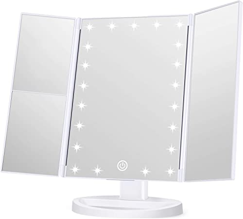 Wondruz Makeup Mirror Vanity Mirror with Lights, 1x 2X 3X Magnification, Touch Screen Switch, Dual Power Supply, Port...