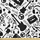 Ambesonne Music Fabric by The Yard, Blues Jazz Punk Rock Various Type of Folk Indie Rap Reggae Peace Sign Sing Artwork, Stretch Knit Fabric for Clothing Sewing and Arts Crafts, 1 Yard, Black