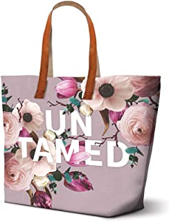 Studio Oh! Shopper Tote with Leather Handles Available in 5 Designs, Floral Expressions UNTAMED