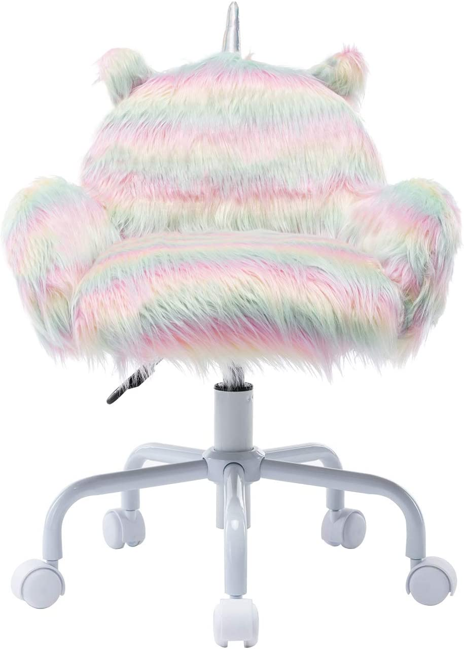 Guyou Faux Fur Kids Desk Chair Superior Fuzzy Shaggy Dog Sw Excellent with Armrest